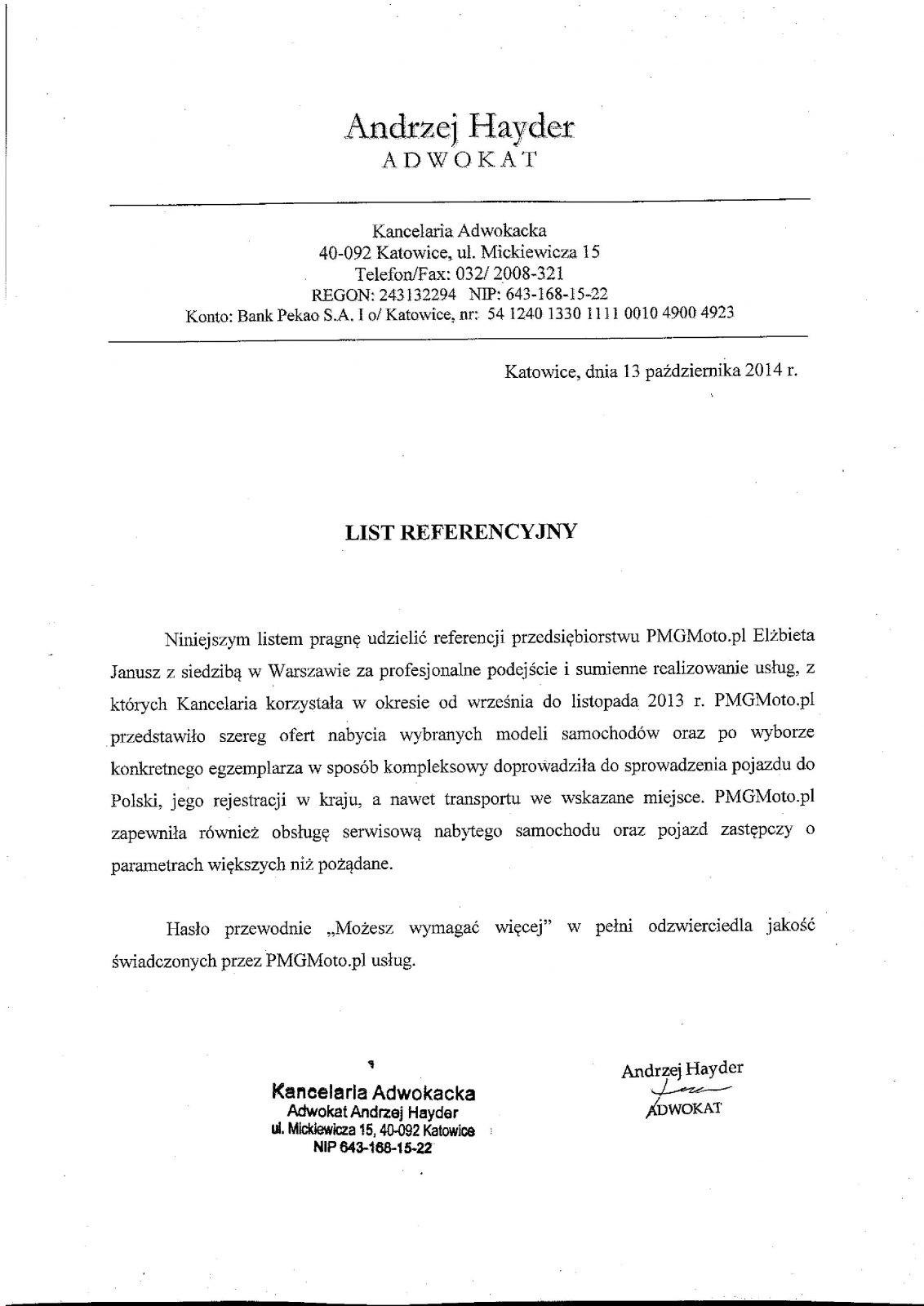 Kancelaria adw. Andrzej Hayder